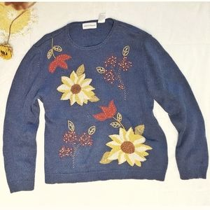 Vtg Alfred Dunner embroidered knit sweater